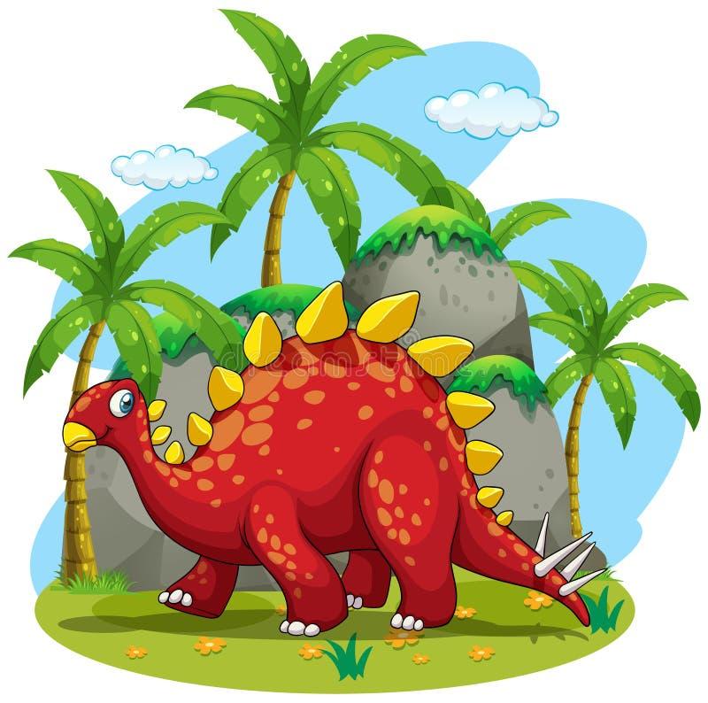 Dinosaura odprowadzenie w polu royalty ilustracja