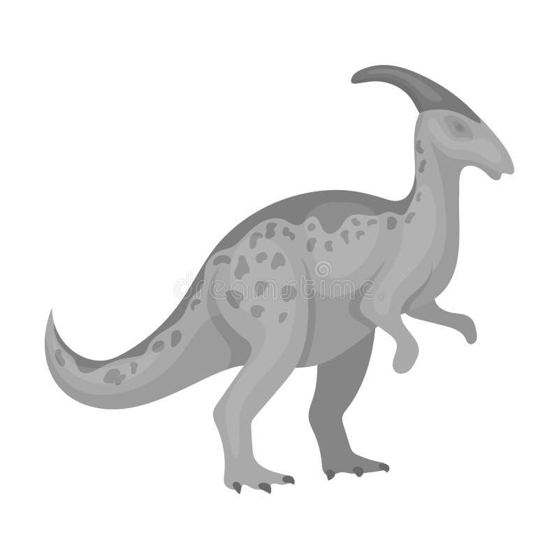 Dinosaura Parasaurolophus ikona w monochromu stylu odizolowywającym na białym tle ilustracji