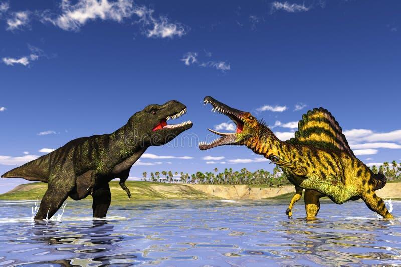 dinosaura polowanie ilustracja wektor