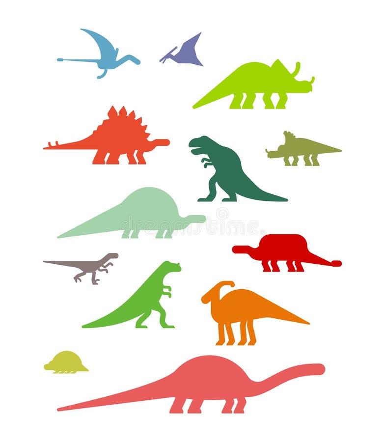 Dinosaura set Antyczny zwierzę Diplodokus i stegozaur, Pteros royalty ilustracja