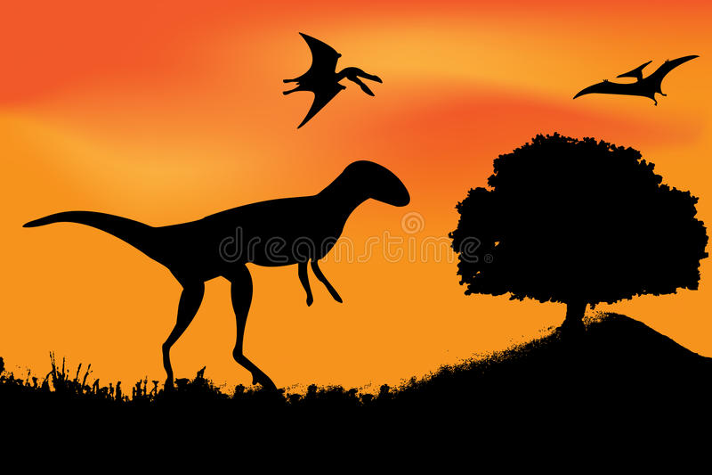 dinosaura sylwetki wektor royalty ilustracja