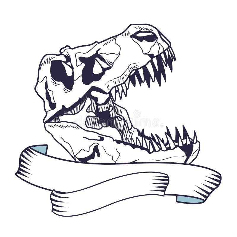 Dinosaura tatuażu kierowniczy kościec rysująca ikona ilustracji