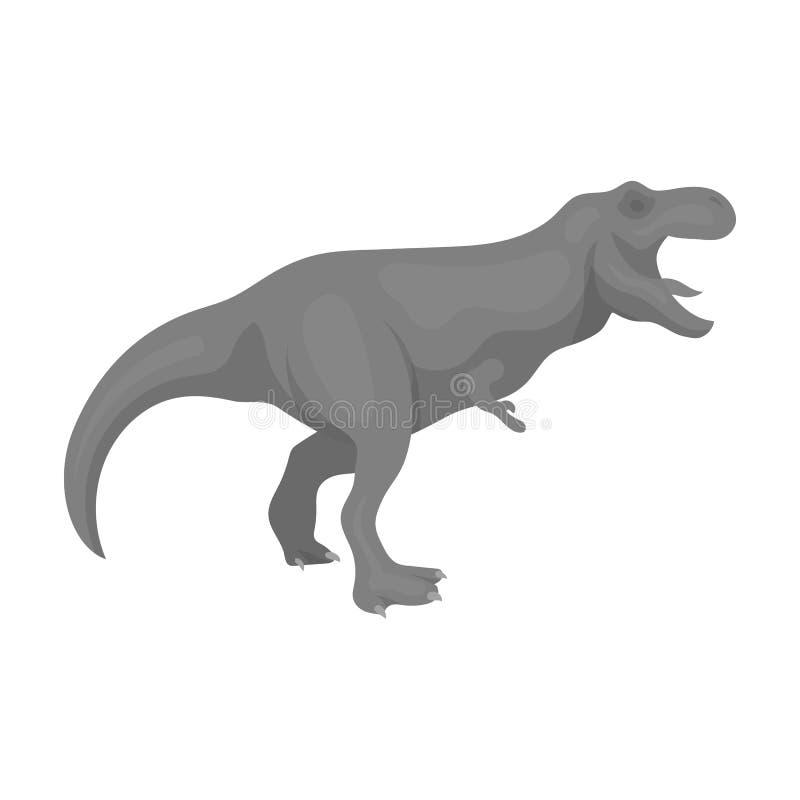 Dinosaura Tyrannosaurus ikona w monochromu stylu odizolowywającym na białym tle ilustracja wektor