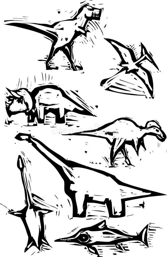 dinosaurbildfläck stock illustrationer