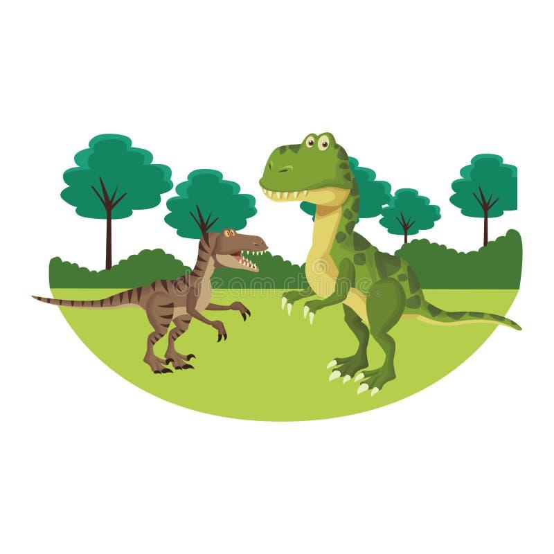 Dinosaure à la nature illustration de vecteur