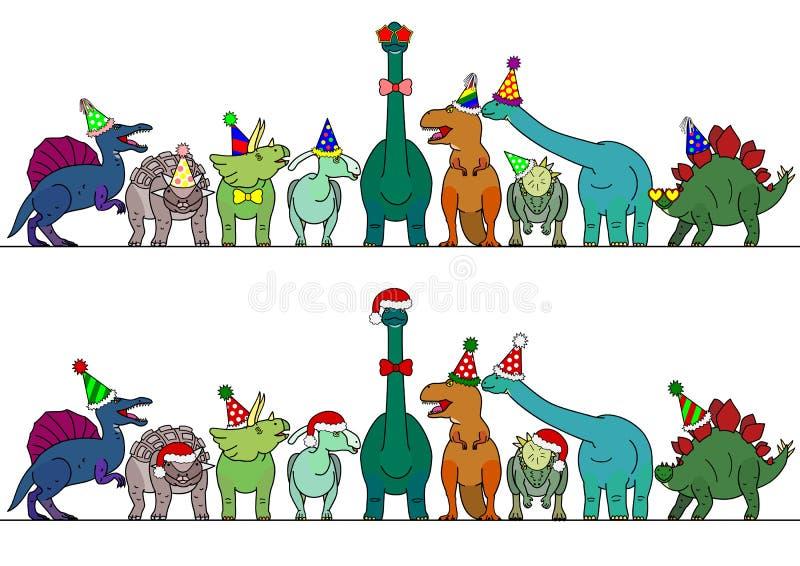 Dinosaure coloré avec la frontière de chapeau de partie illustration de vecteur