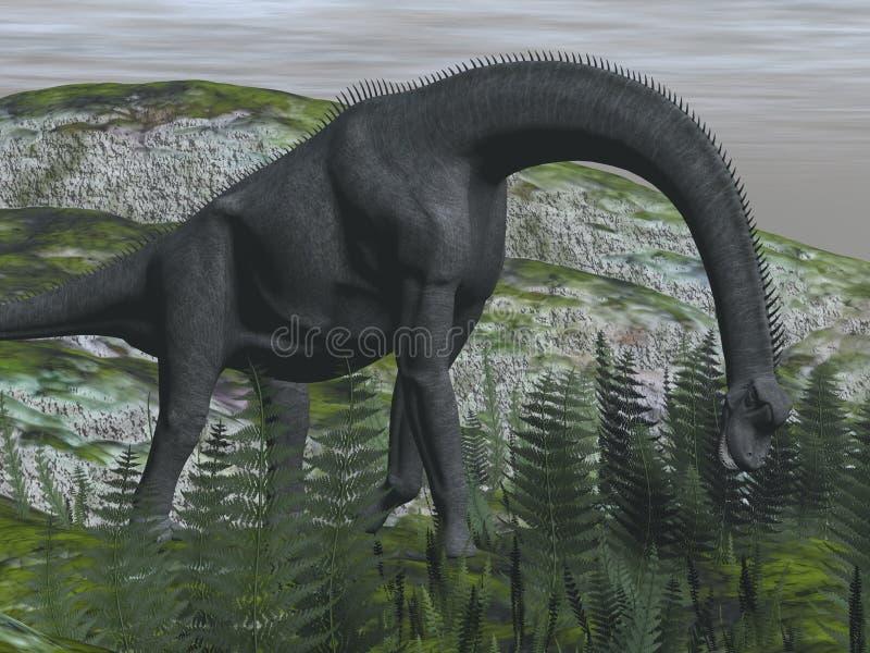 Dinosaure de Brachiosaurus mangeant la fougère - 3D rendent illustration libre de droits