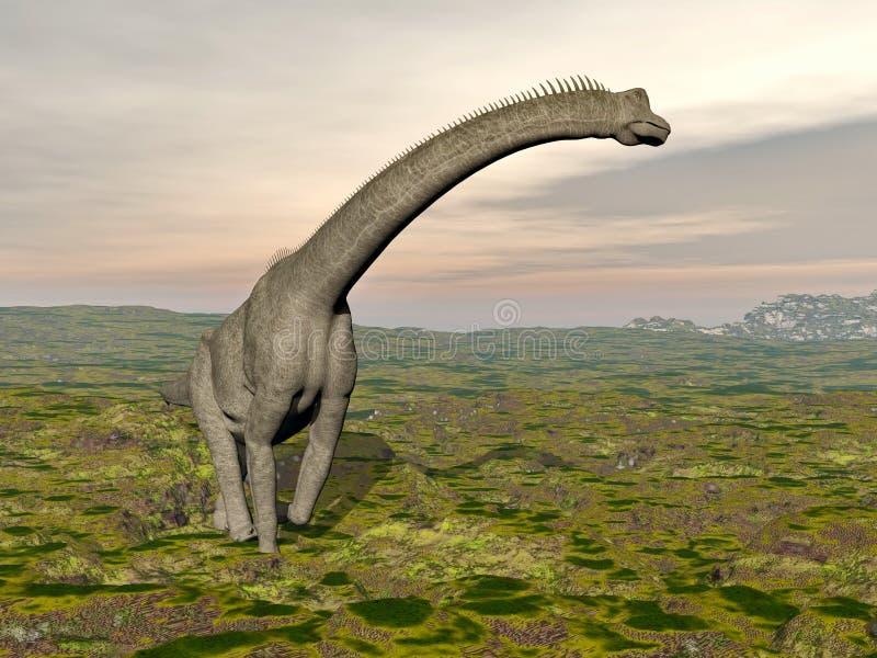 Dinosaure de Brachiosaurus marchant - 3D rendent illustration stock
