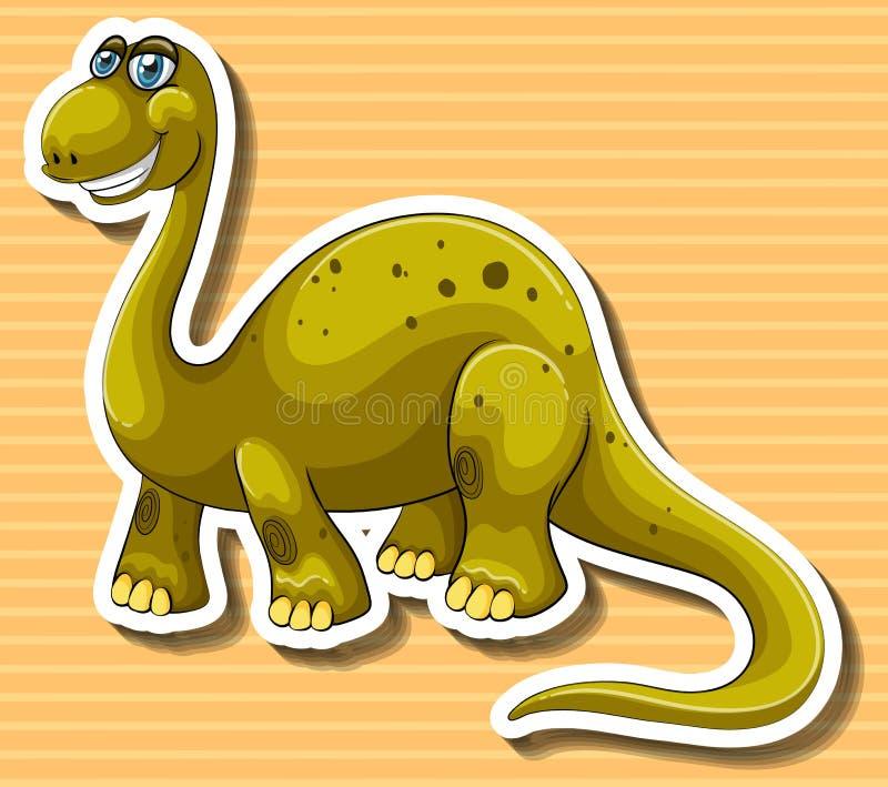 Dinosaure de Brown avec le visage heureux illustration stock