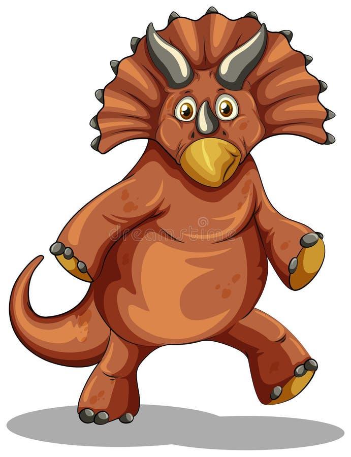 Dinosaure de Brown sur le blanc illustration de vecteur