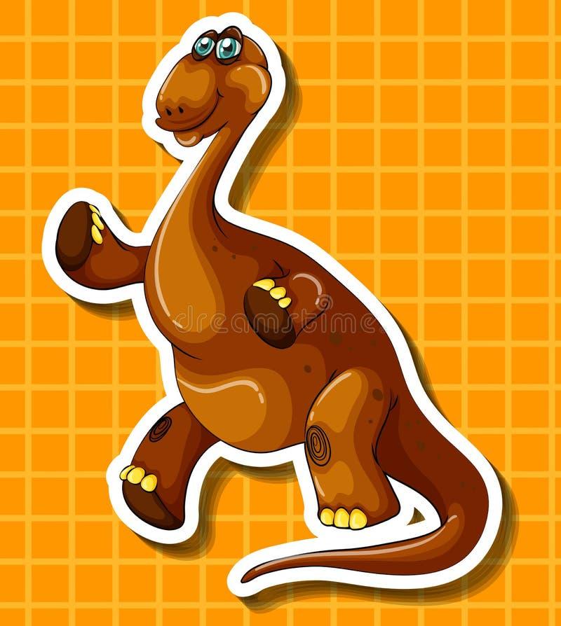 Dinosaure de Brown sur le fond jaune illustration de vecteur