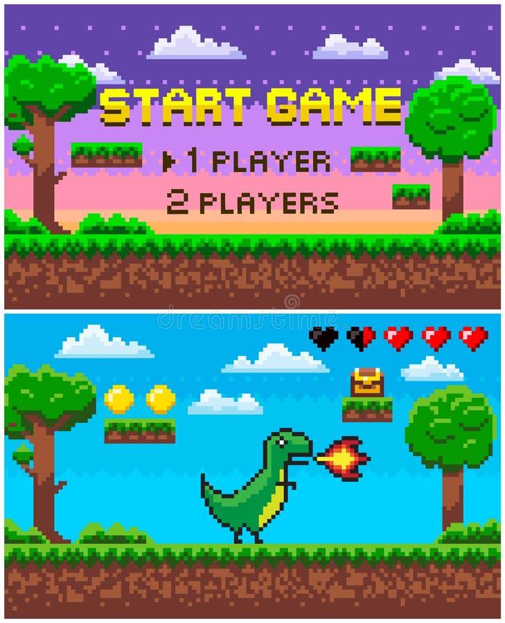 Dinosaure de jeu de début avec le feu, caractère de pixel illustration stock