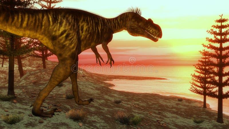Dinosaure de Megalosaurus marchant vers l'océan - illustration stock
