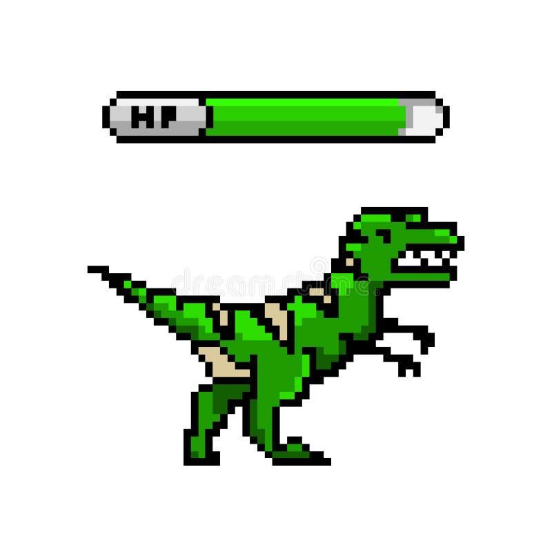 Dinosaure de pixel, objets mordus de l'art 8 Rétros capitaux de jeu Ensemble de graphismes arcades visuelles d'ordinateur de cru  illustration libre de droits