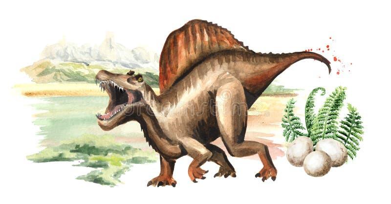 Dinosaure de Spinosaurus avec des oeufs dans le paysage préhistorique Illustration tirée par la main d'aquarelle, d'isolement sur illustration libre de droits
