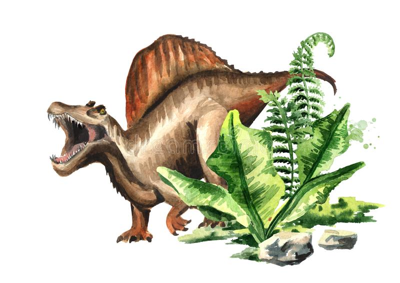 Dinosaure de Spinosaurus avec les usines préhistoriques Illustration tirée par la main d'aquarelle, d'isolement sur le fond blanc illustration de vecteur