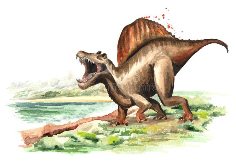 Dinosaure de Spinosaurus dans le paysage préhistorique Illustration tirée par la main d'aquarelle, d'isolement sur le fond blanc illustration libre de droits