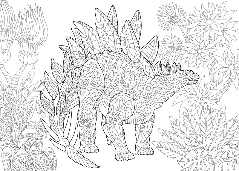 Dinosaure de stegosaurus de Zentangle illustration libre de droits