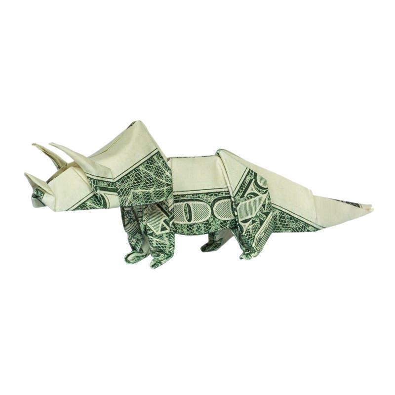 Dinosaure de Triceratops d'origami d'argent plié avec le vrai un dollar Bill Isolated images stock