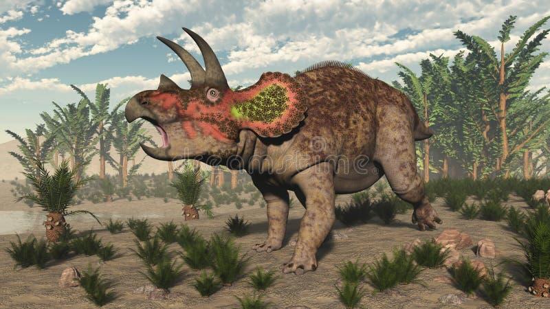Dinosaure de Triceratops - 3D rendent illustration de vecteur