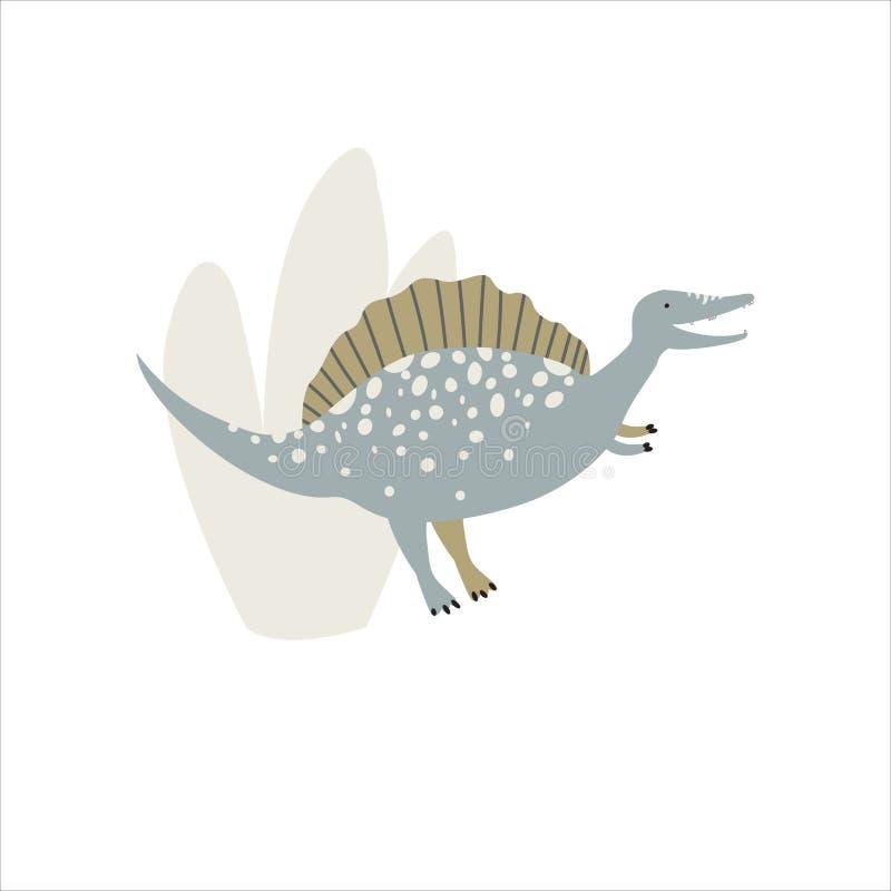 Dinosaure drôle avec des usines Badine l'illustration illustration de vecteur