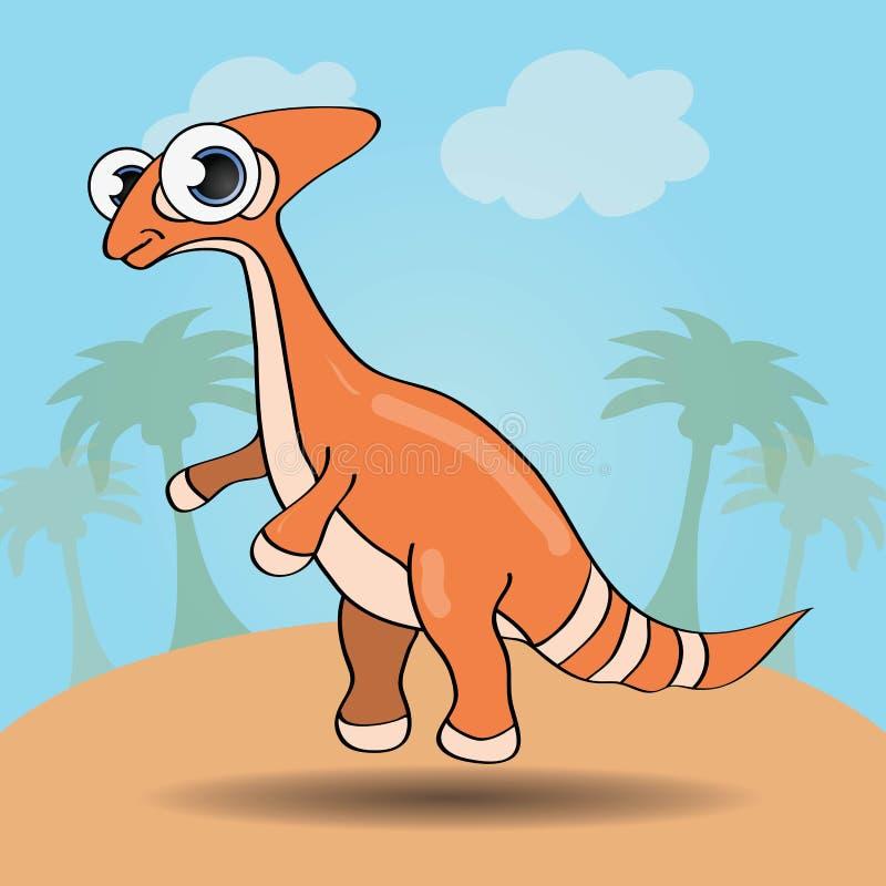 Dinosaure drôle de style de bande dessinée illustration libre de droits