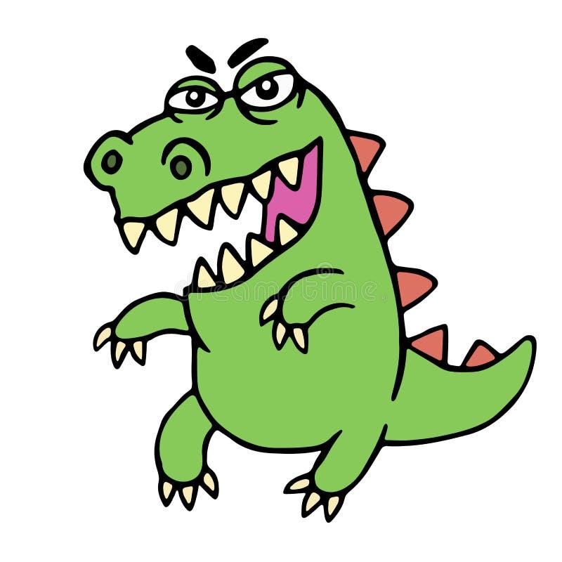 Dinosaure fâché mignon de bande dessinée Illustration de vecteur illustration libre de droits
