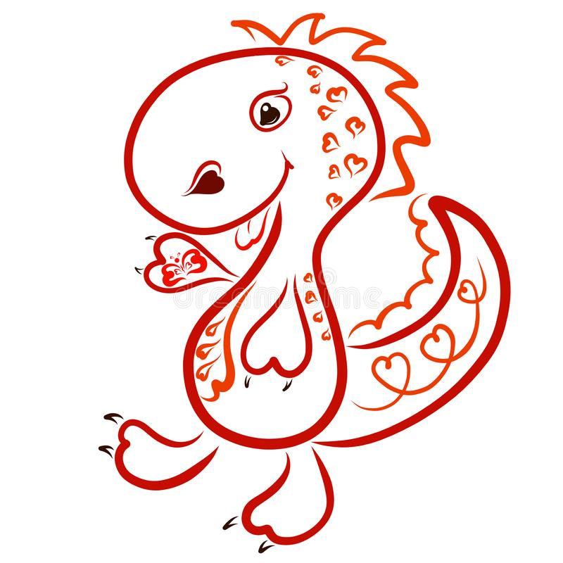 Dinosaure joyeux drôle aux coeurs, avec un papillon dans sa patte illustration libre de droits