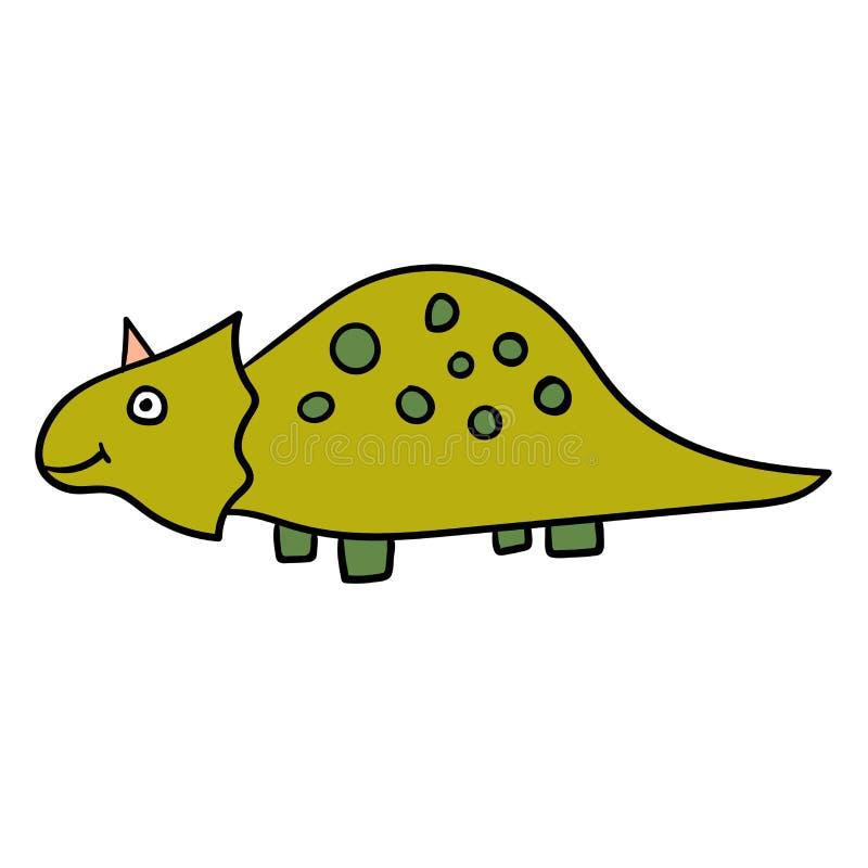 Dinosaure linéaire de griffonnage de bande dessinée, triceratops d'isolement sur le fond blanc illustration stock