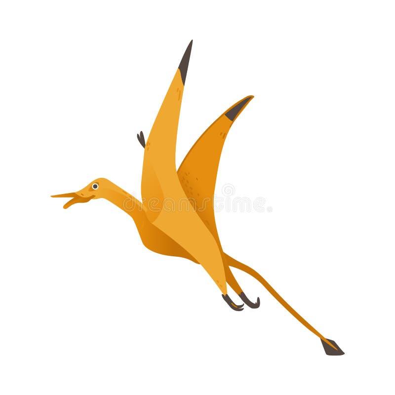 Dinosaure mignon avec des ailes pilotant l'illustration plate de vecteur d'isolement sur le fond illustration de vecteur