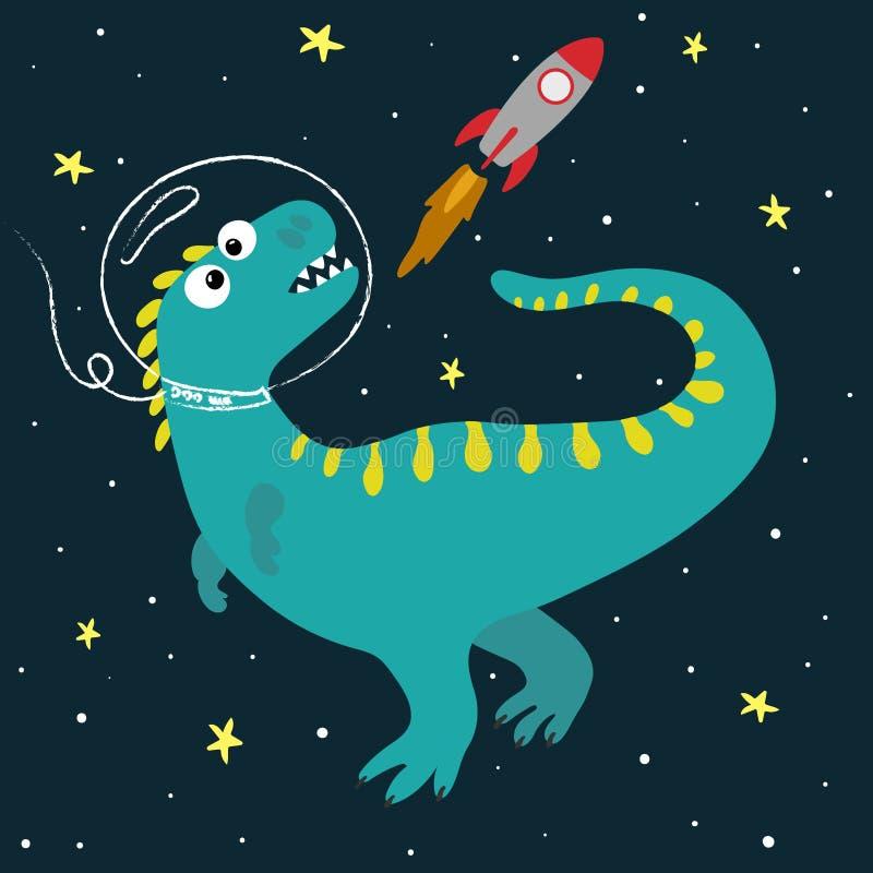 Dinosaure mignon de bande dessinée dans l'espace Illustration tir?e par la main de vecteur illustration libre de droits