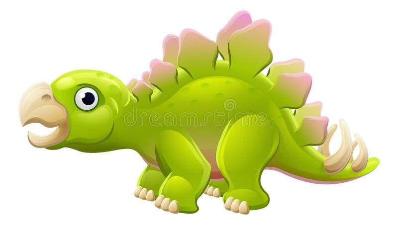 Dinosaure mignon de bande dessinée de Stegosaurus illustration libre de droits