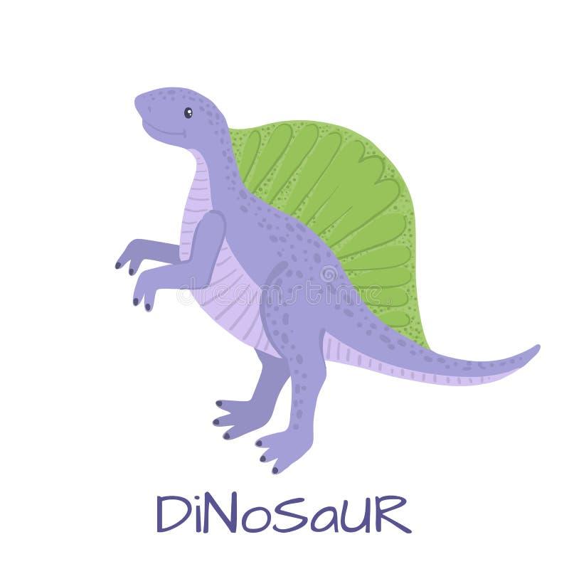 Dinosaure mignon de spinosaurus de bébé d'isolement sur le blanc illustration de vecteur