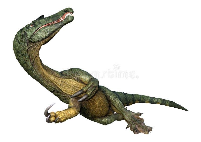 dinosaure Spinosaurus du rendu 3D sur le blanc illustration de vecteur