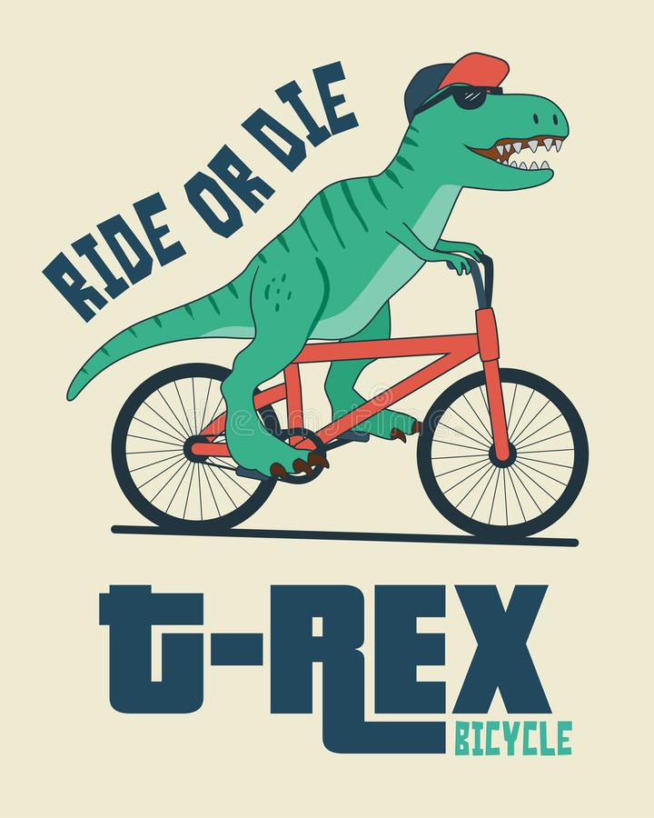 Dinosaure sur la bicyclette illustration libre de droits