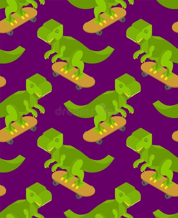 Dinosaure sur le modèle de planche à roulettes sans couture Backgroun de Dino Teenager illustration stock