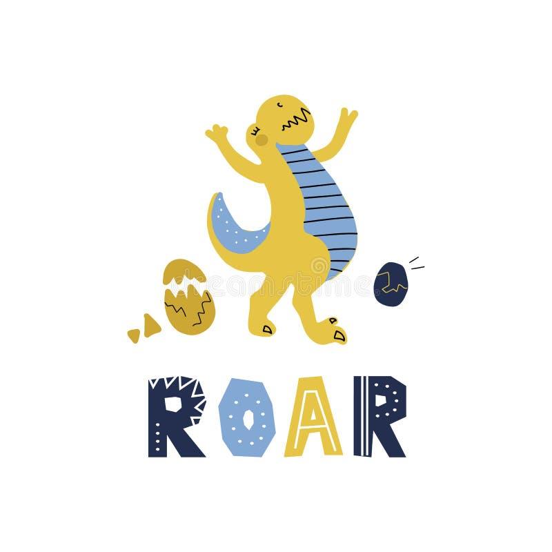 Dinosaure tir? par la main de bande dessin?e mignonne de vecteur avec marquer avec des lettres l'hurlement de citation Tyrannosau illustration stock