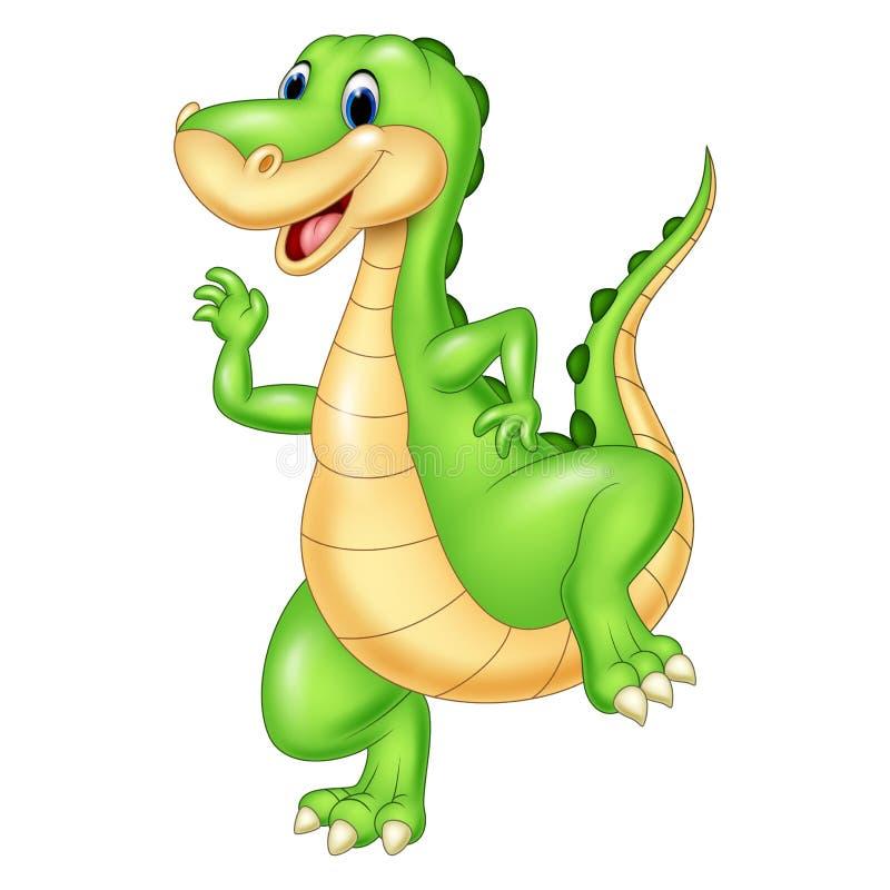 Dinosaure vert de bande dessinée illustration de vecteur