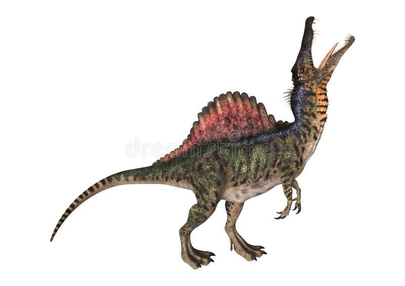 dinosauren för clippingen 3d över banan framför skuggaspinosaurus vit royaltyfri illustrationer
