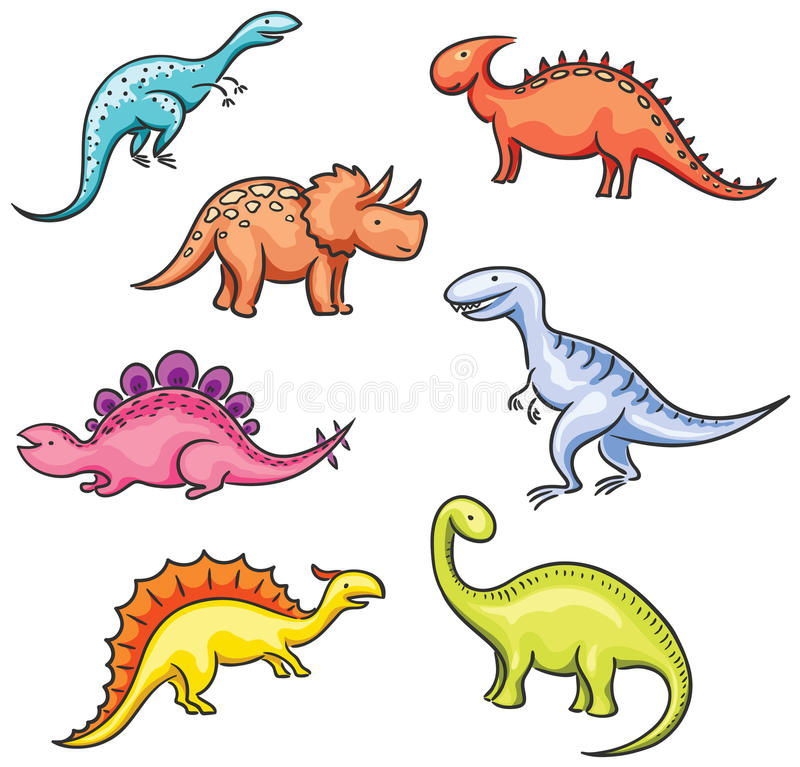 Dinosaures colorés de bande dessinée illustration libre de droits