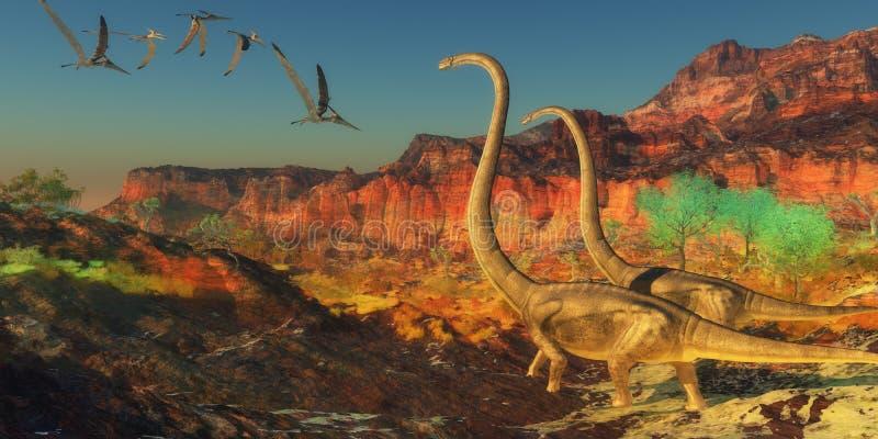 Dinosaures d'Omeisaurus illustration de vecteur