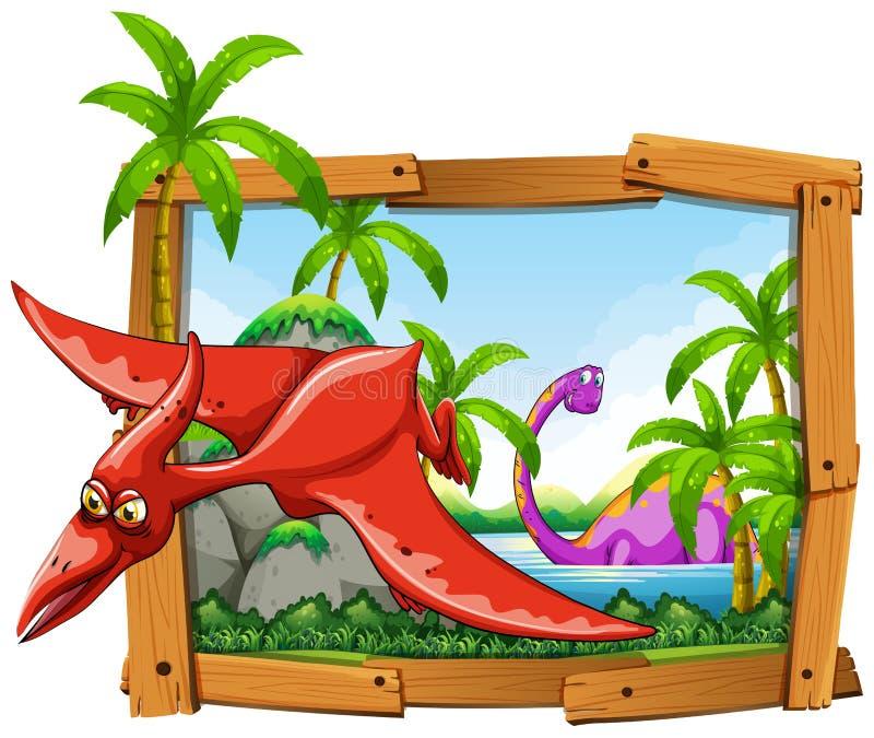 Dinosaures dans le cadre en bois illustration stock