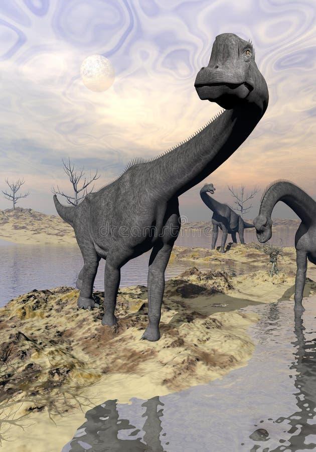 Dinosaures de Brachiosaurus près de l'eau - 3D rendent illustration stock