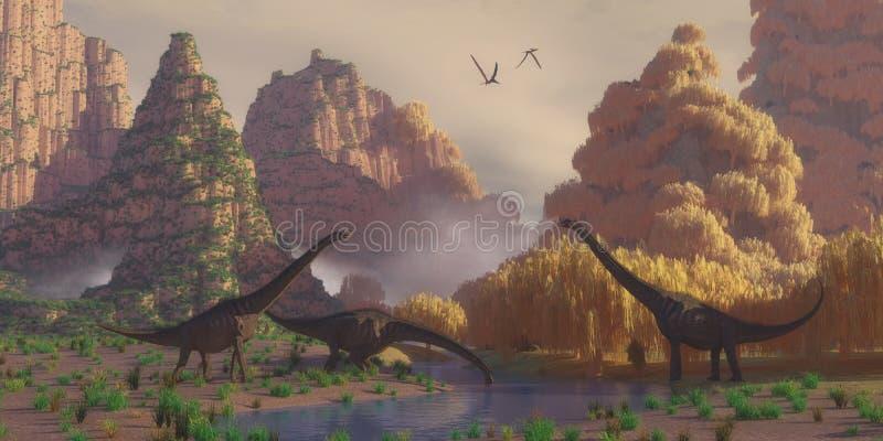 Dinosaures de Sauroposeidon illustration stock