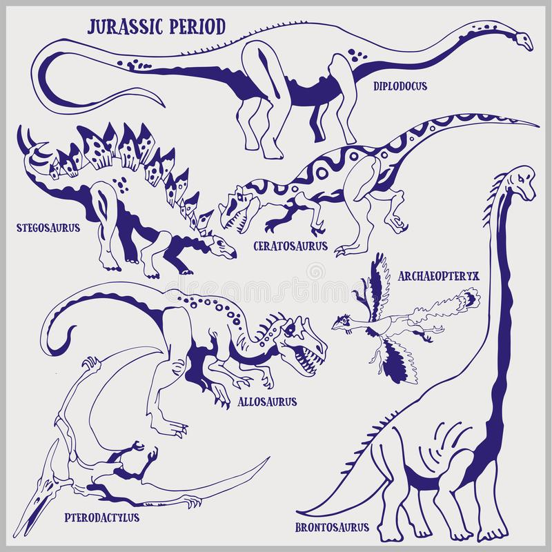 Dinosaures de terre de format de vecteur de période jurassique illustration de schéma pour la coloration et l'aspiration illustration libre de droits