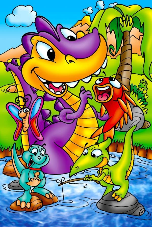 Dinosaures drôles photographie stock