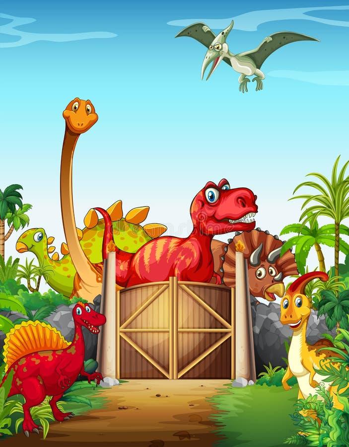 Dinosaures en parc de Dino illustration libre de droits