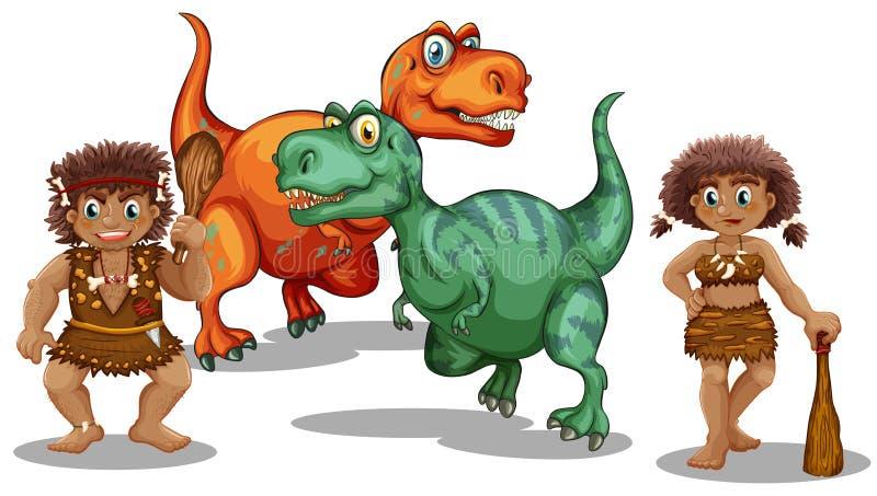 Dinosaures et personnes de caverne illustration de vecteur