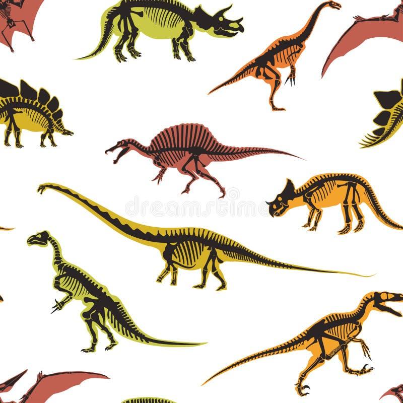 Dinosaures et types de ptérodactyle de modèle sans couture d'animaux d'isolement sur le vecteur blanc de fond illustration de vecteur