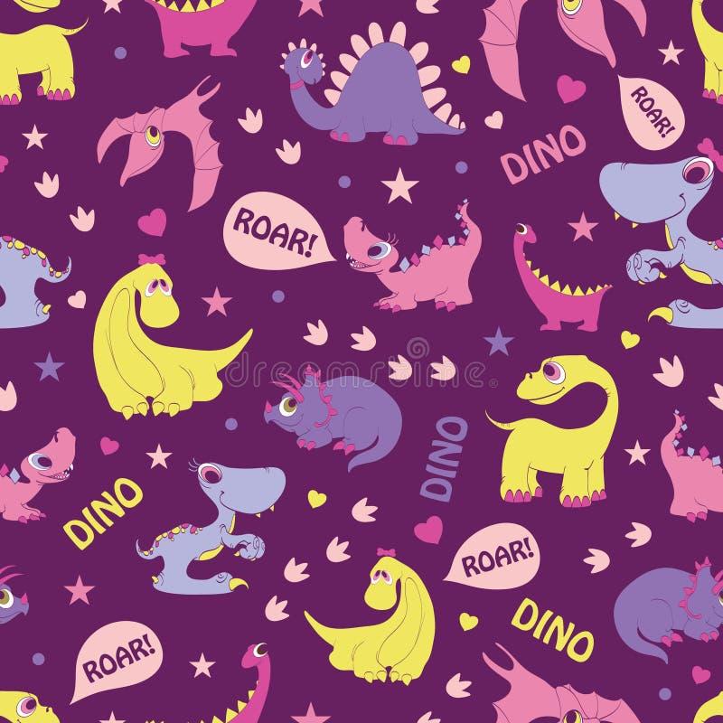 Dinosaures Girly de vecteur hurlant le modèle sans couture illustration de vecteur